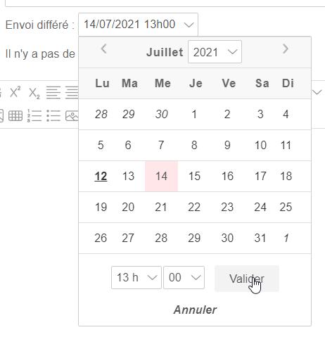Programmer la date et l'heure d'envoi