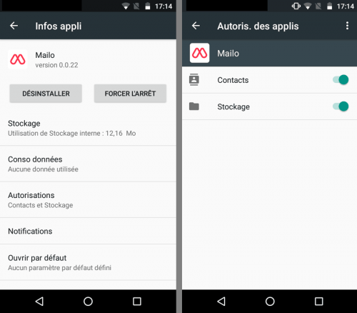 Autorisations Android