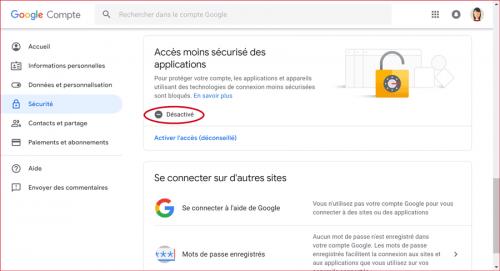 Google - Accès moins sécurisé des applications