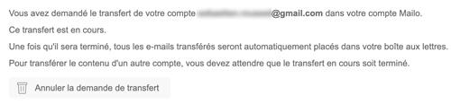 Transfert Gmail en cours