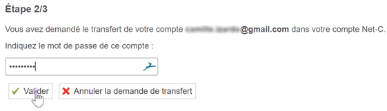 Initialisation du transfert