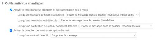 Options antispam et classification