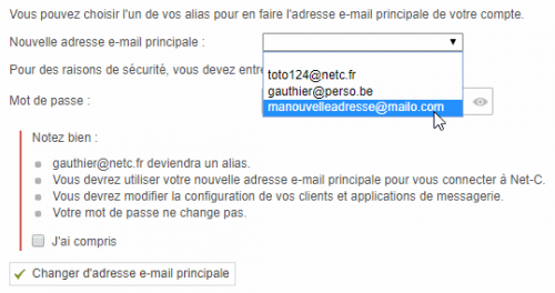 Cahnger d'adresse e-mail principale