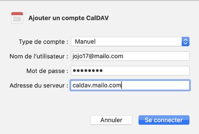 Ajouter un compte CalDAV