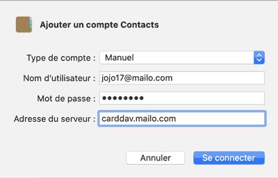 Ajouter un compte Contacts