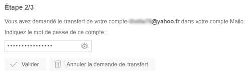 Transfert Yahoo - étape 3