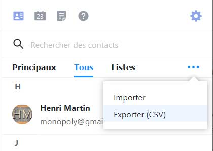 Exporter les contacts Yahoo Mail