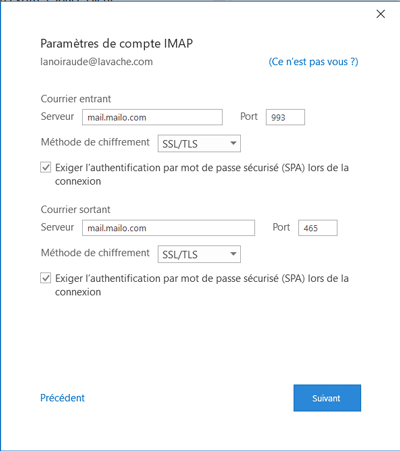 Outlook pour Windows - configuration
